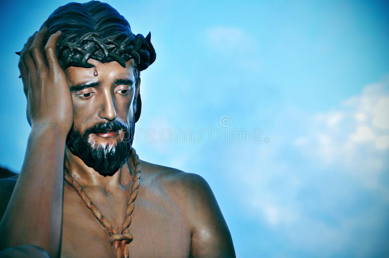 Jesus Christ with the crown of thorns in the way to Calvary stock photography