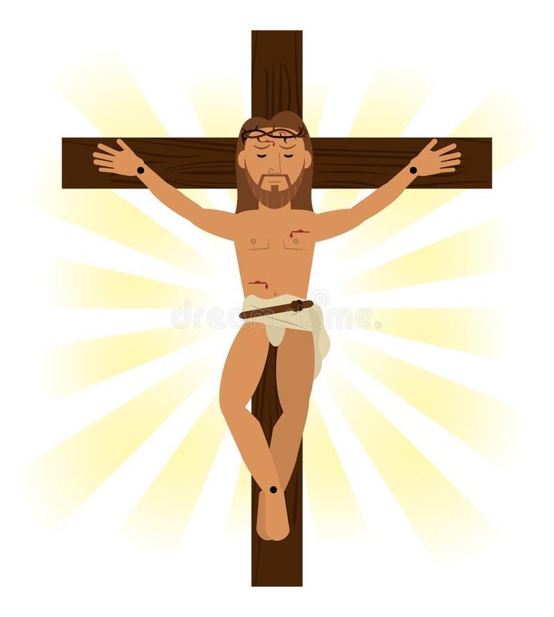 Jesus christ crucificou o símbolo religioso ilustração stock