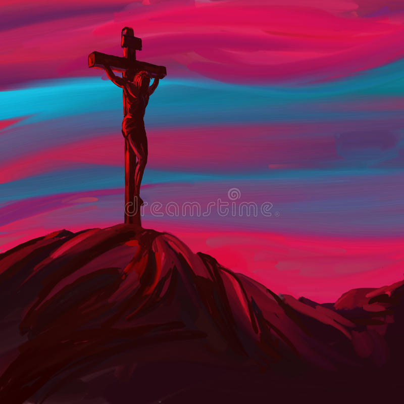Jesus Christ Crucifiction vektorillustration stock illustrationer