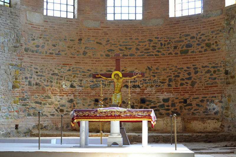 Jesus Christ Crucifixion-kerkaltaar royalty-vrije stock afbeelding