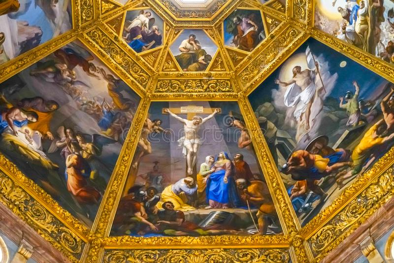 Jesus Christ Crucifixion Painting San Lorenzo Medici Church Florence Italy fotografía de archivo
