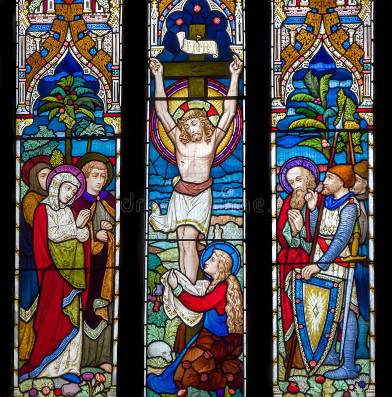 Jesus Christ Crucifixion Stained Glass-Fenster lizenzfreie stockbilder