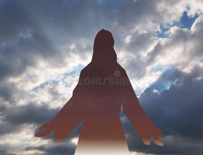 Jesus Christ in de blauwe hemel met wolken stock foto