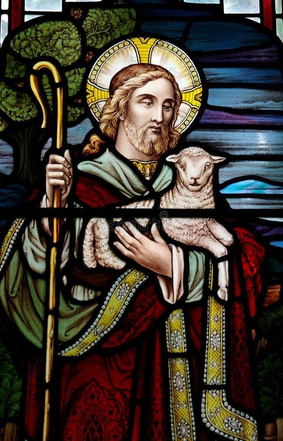 Jesus Christ: De Goede Herder in gebrandschilderd glas royalty-vrije stock afbeelding