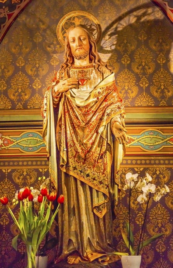 Jesus Christ De Krijtberg Church Amsterdam Nederländerna fotografering för bildbyråer