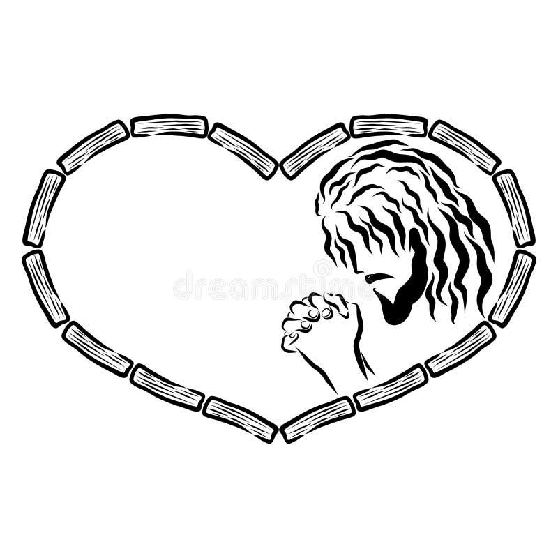 Jesus Christ de rogación en un corazón de pedazos de madera libre illustration