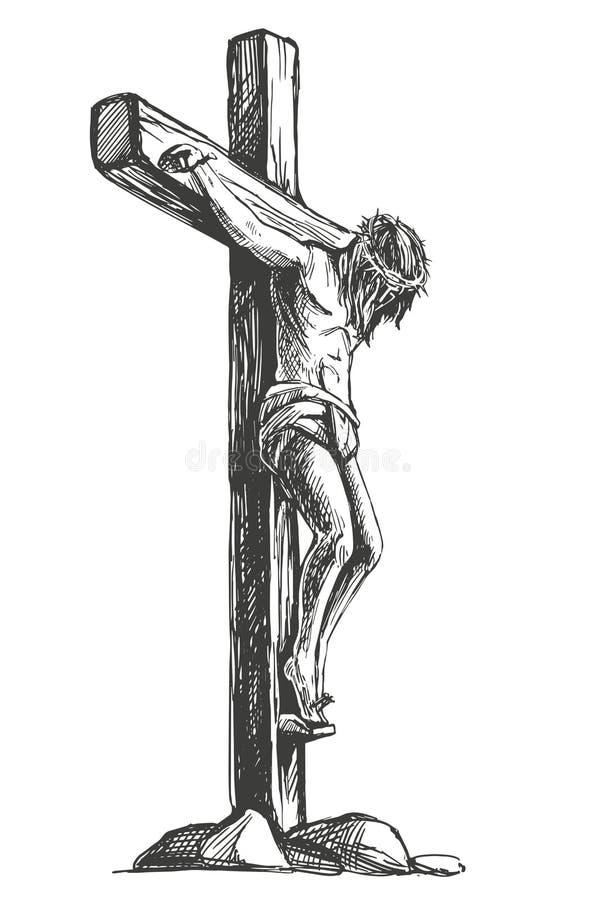 Jesus Christ, de Zoon van God in een kroon van doornen op zijn hoofd, een symbool van Christendomhand getrokken vectorillustratie royalty-vrije illustratie