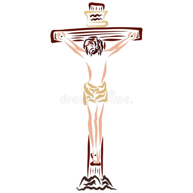 Jesus Christ, der auf dem Kreuz, Rettung stirbt lizenzfreie abbildung