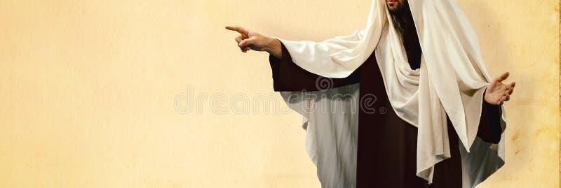 Jesus Christ, der Finger auf die Seite zeigt lizenzfreies stockbild