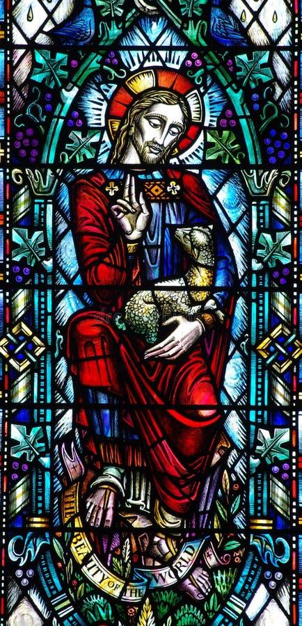 Jesus Christ der gute Hirte im Buntglas lizenzfreies stockbild