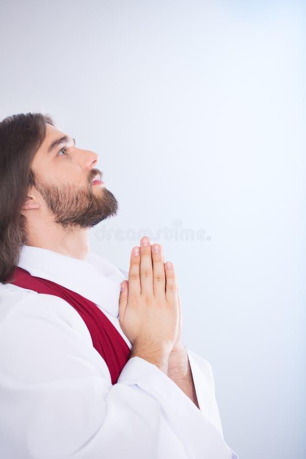 Jesus Christ die omhoog kijken stock foto's