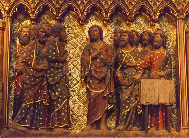 Jesus Christ Disciples Wooden Notre Dame Paris France fotografia de stock royalty free