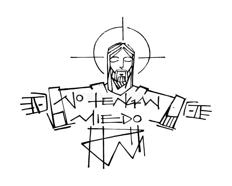 Jesus Christ e frase ilustração do vetor
