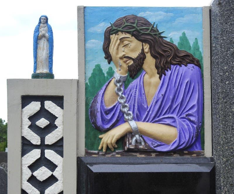 Jesus Christ e poca statua, Lituania fotografie stock