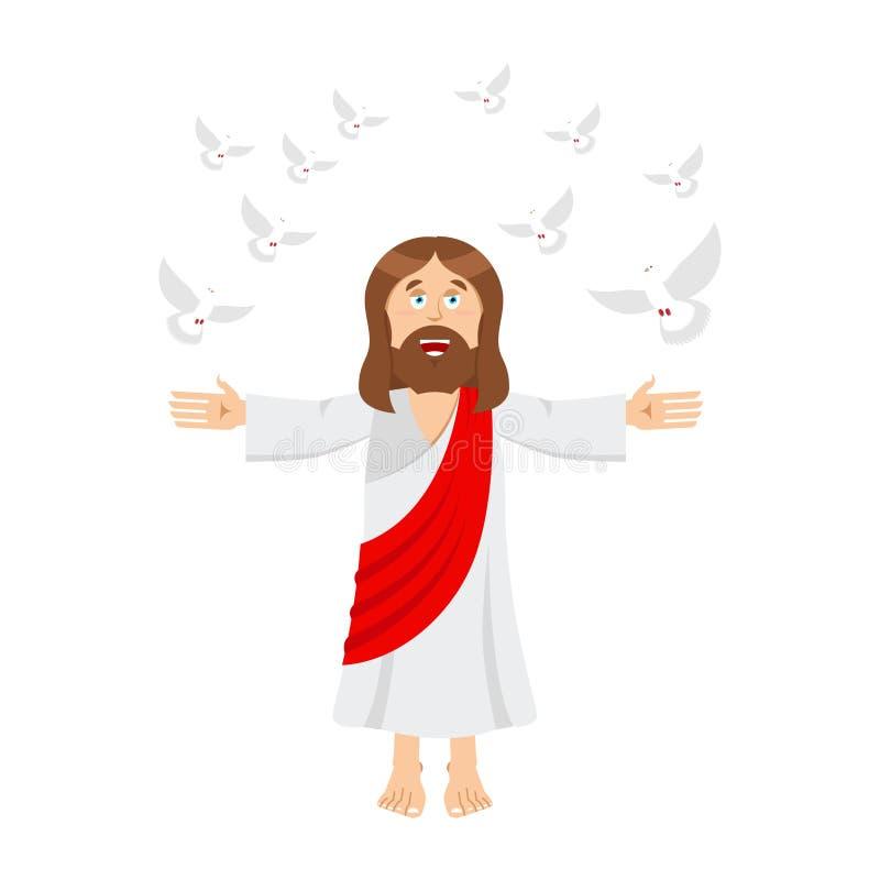 Jesus Christ e pomba homem santamente e pombo Filho do deus bi da Bíblia ilustração do vetor