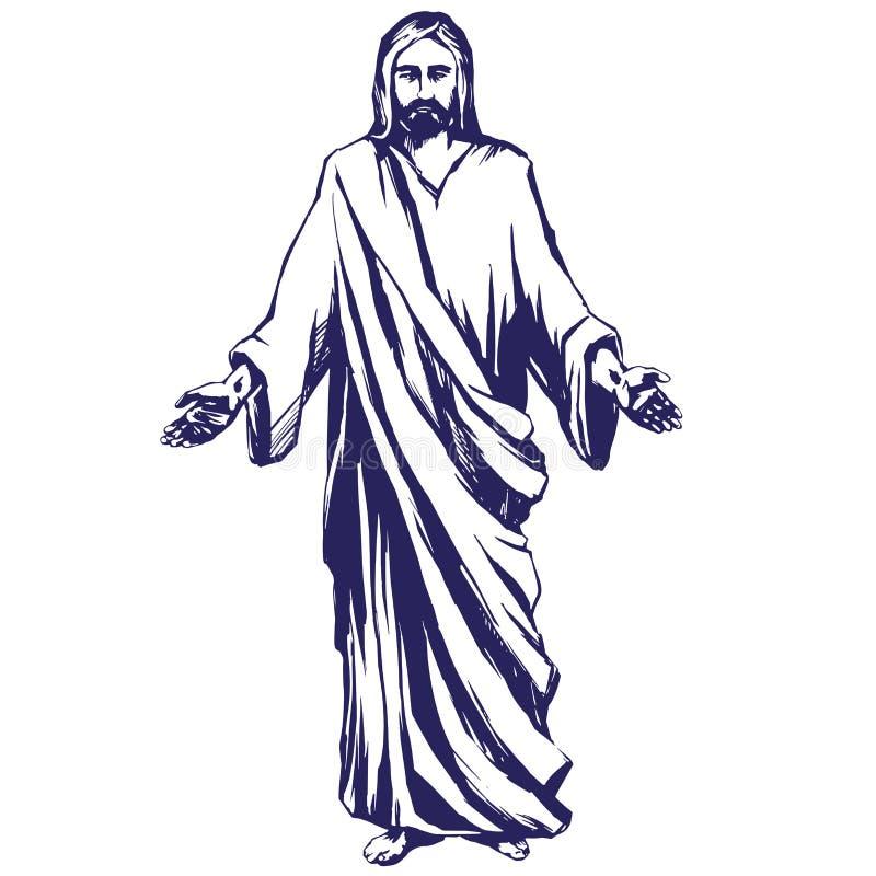 Jesus Christ, el hijo de dios, símbolo del ejemplo dibujado mano del vector del cristianismo libre illustration