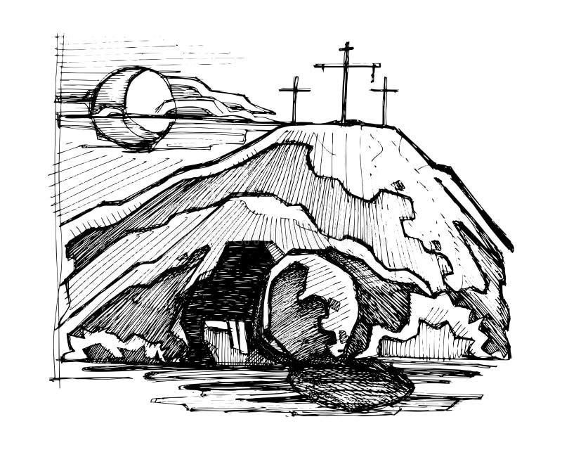 Jesus Christ empty tomb. Hand drawn vector illustration or drawing of Jesus Christ empty tomb vector illustration