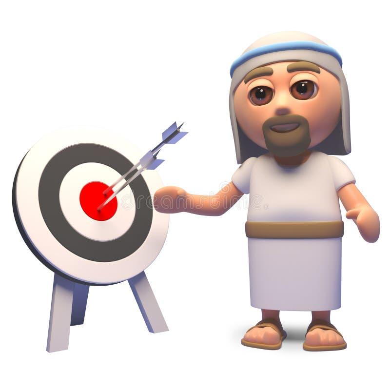 Jesus Christ erwägt die Genauigkeit, die ein Ziel und ein Bullauge, Illustration 3d betrachtet lizenzfreie abbildung
