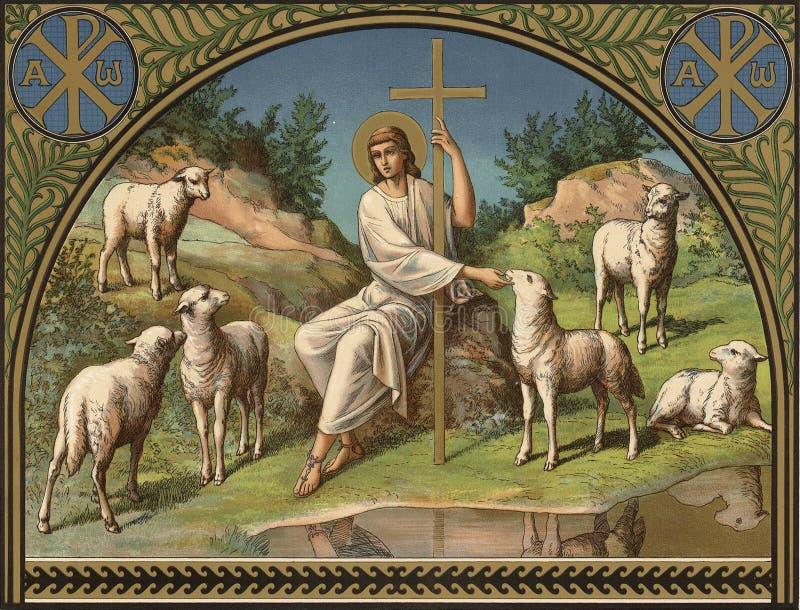 Jesus Christ es el buen pastor ilustración del vector
