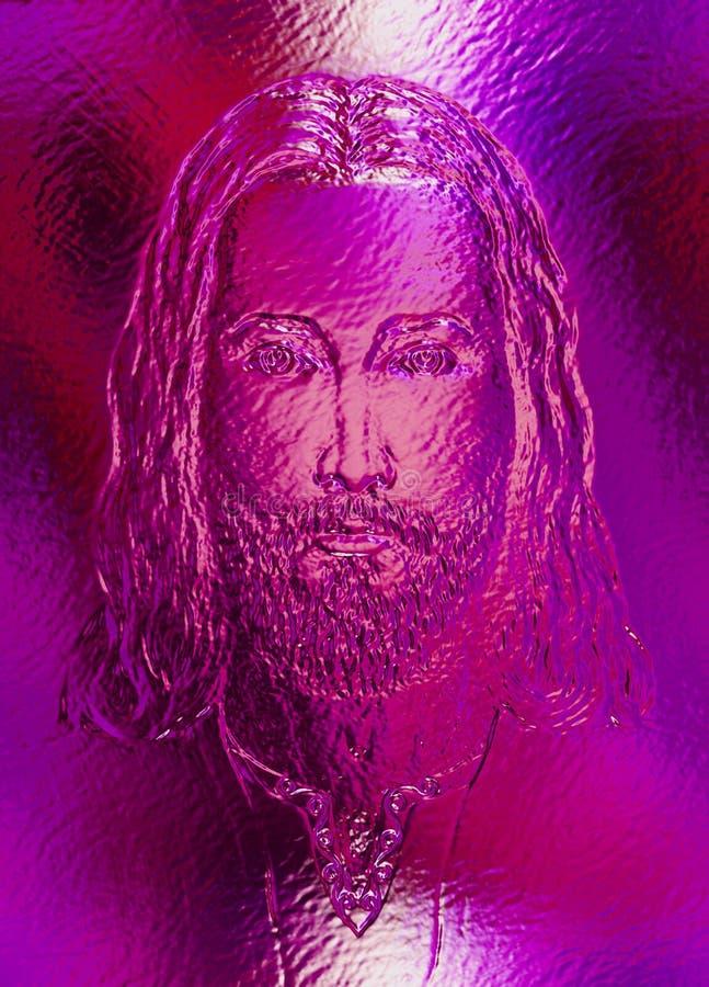 Jesus Christ, exponeringsglas- och metallstruktur Ögonkontakt vektor illustrationer