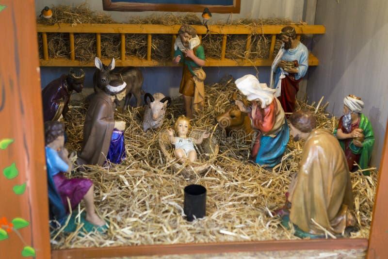 Jesus Christ födelsestatyetter royaltyfria foton