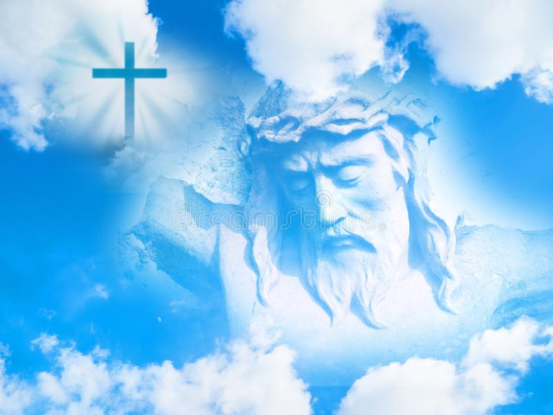 Jesus Christ face and Christian cross in the sky royalty free stock photography