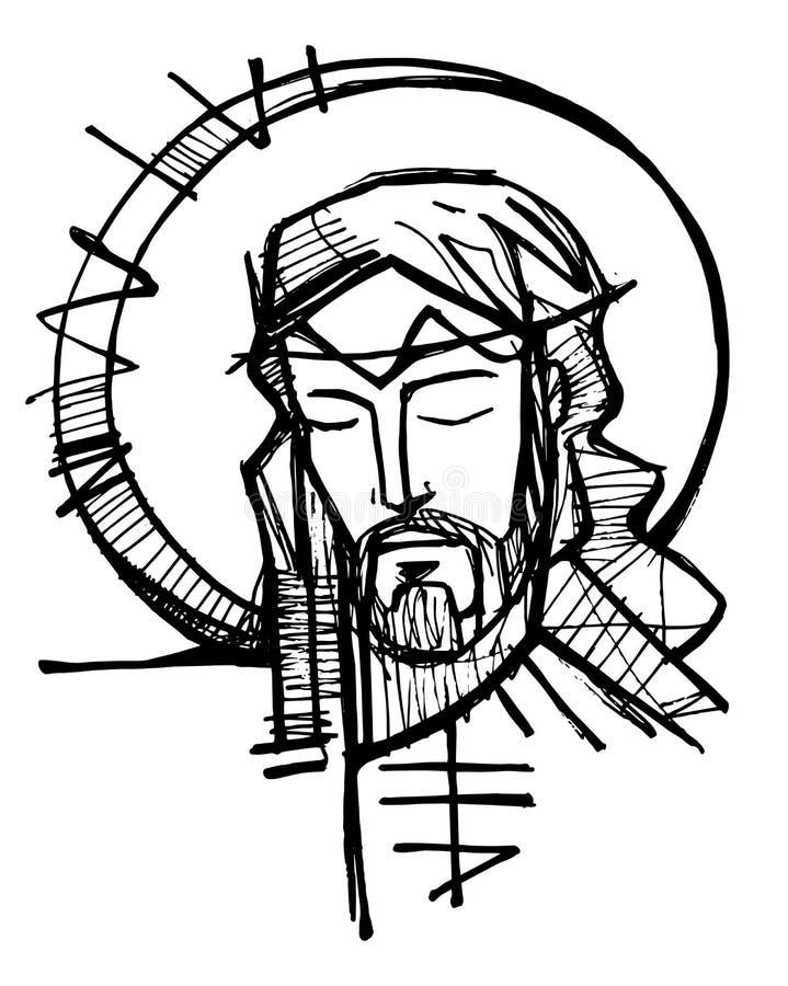 Jesus Christ Face-inktillustratie royalty-vrije illustratie