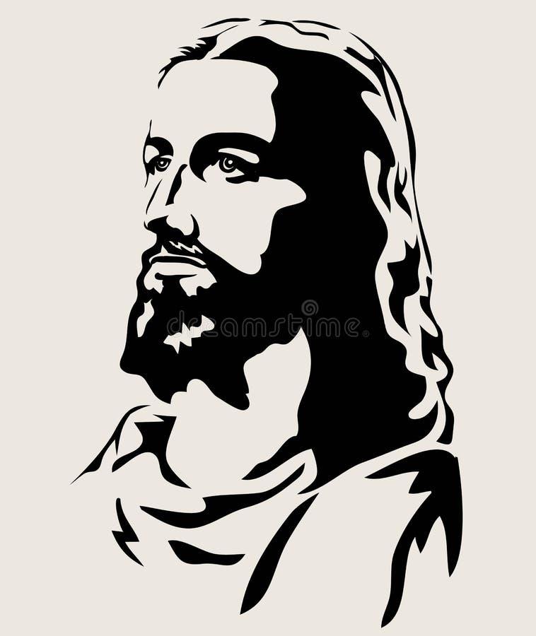 Jesus Christ Face Silhouette, diseño del vector del arte libre illustration