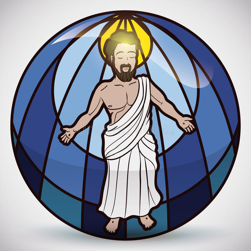Jesus Christ Figure en el vitral, ejemplo del vector libre illustration