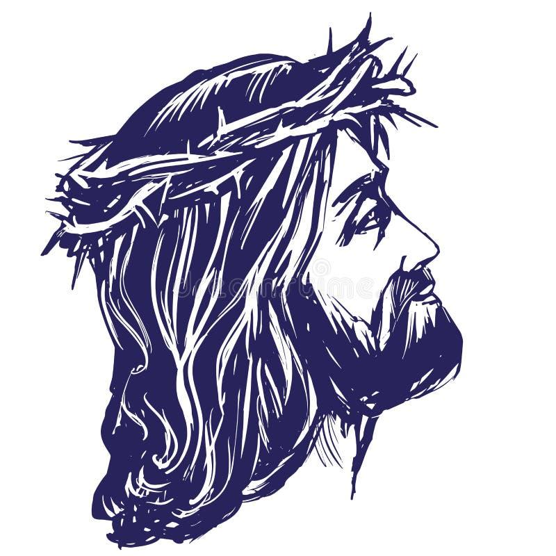 Jesus Christ, filho do deus em uma coroa de espinhos em sua cabeça, um símbolo da ilustração tirada mão do vetor da cristandade ilustração royalty free