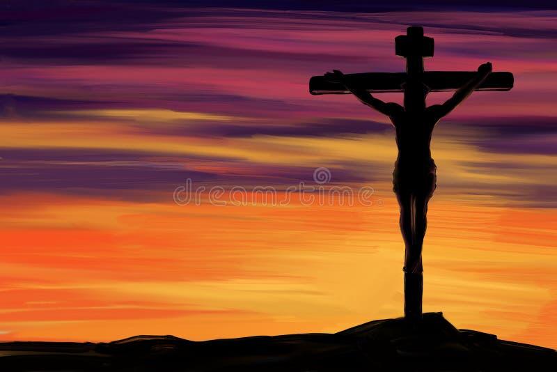 Jesus Christ, filho do deus, feriado santamente religioso, cruz da Páscoa contra o símbolo do céu da mão da cristandade tirado ilustração do vetor