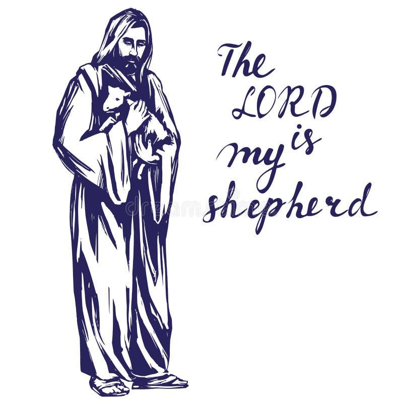 Jesus Christ, filho do deus, guardando um cordeiro em suas mãos, símbolo da ilustração tirada mão do vetor da cristandade ilustração royalty free
