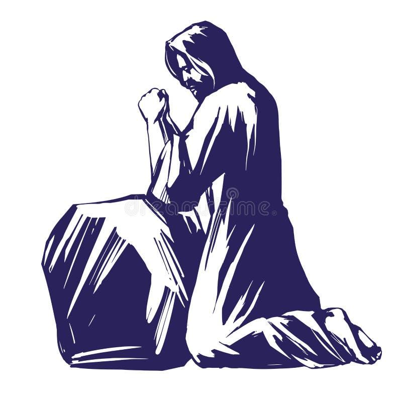 Jesus Christ, filho do deus que reza no jardim de Gethsemane, símbolo do esboço da ilustração do vetor da cristandade ilustração royalty free