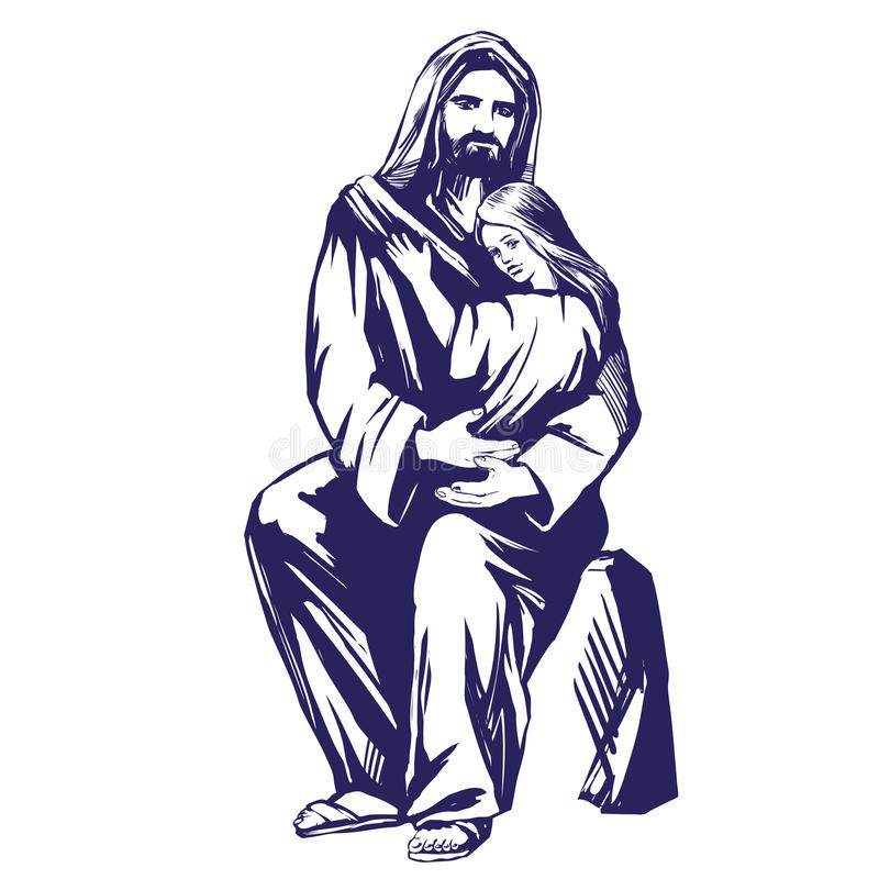 Jesus Christ, fils de Dieu, tenant un enfant dans des ses mains, symbole de croquis tiré par la main d'illustration de vecteur de illustration de vecteur