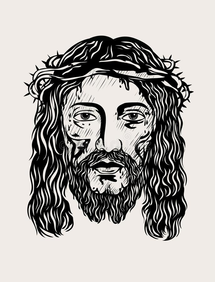 Jesus Christ-gezicht stock illustratie