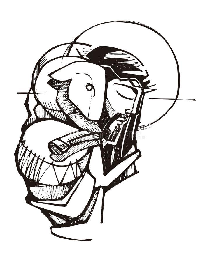 Jesus Christ Good Shepherd illustrazione vettoriale
