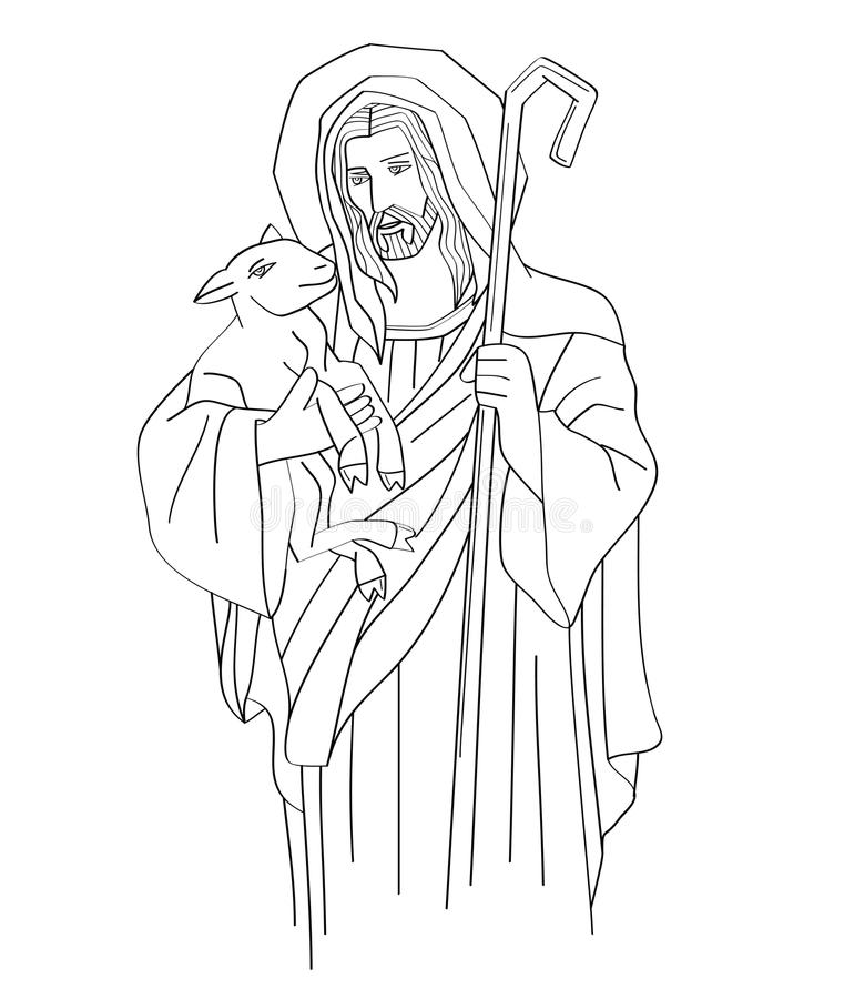 Jesus Christ is the good shepherd, art sketch or drawing vector illustration