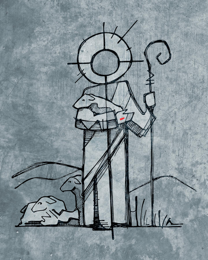 Jesus Christ Good Shepherd royalty free illustration