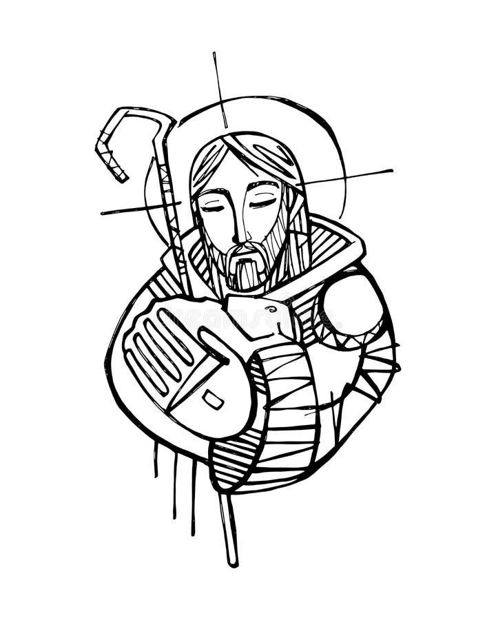 Jesus Christ Good Shepherd vector hand drawn ink illustration stock illustration
