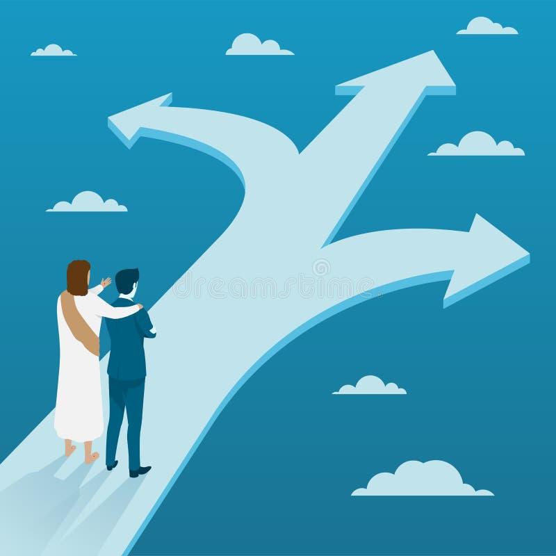 Jesus Christ Guiding Businessman a fazer a decisão em três maneiras diferentes ilustração do vetor