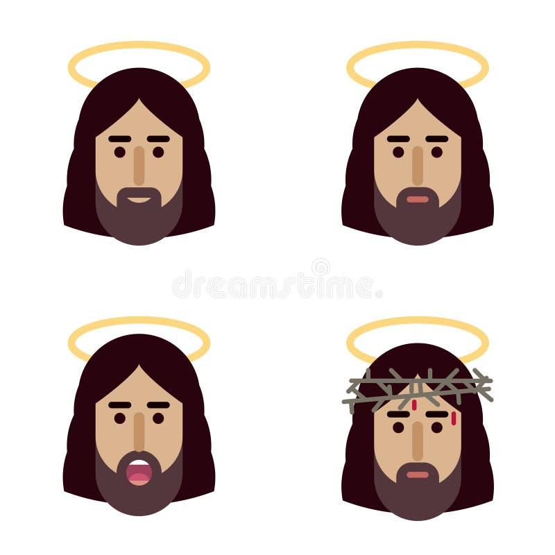 Jesus Christ hace frente al icono plano libre illustration