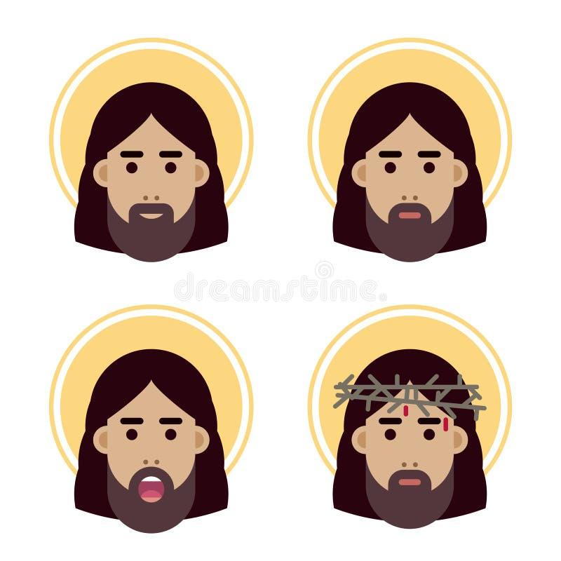 Jesus Christ hace frente al icono plano stock de ilustración