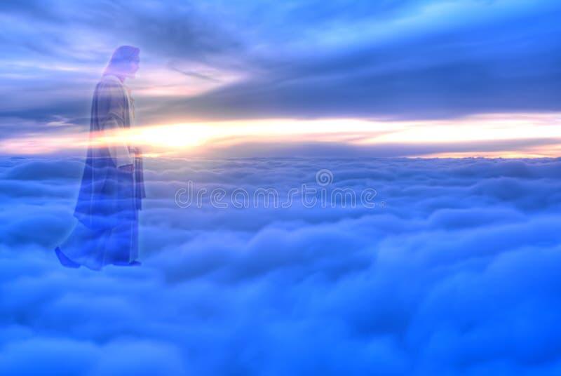 Jesus Christ in het concept van de Hemelgodsdienst stock foto