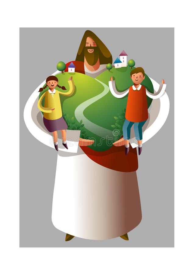 Download Jesus Christ Holding Boy And Girl Stock Vector - Image: 26902225