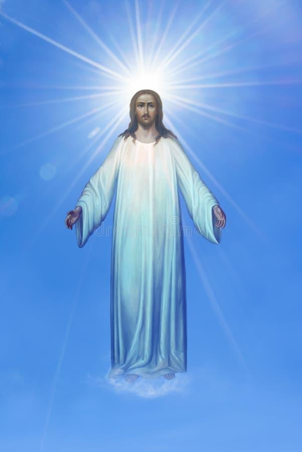 Jesus Christ i himmelreligionbegrepp fotografering för bildbyråer