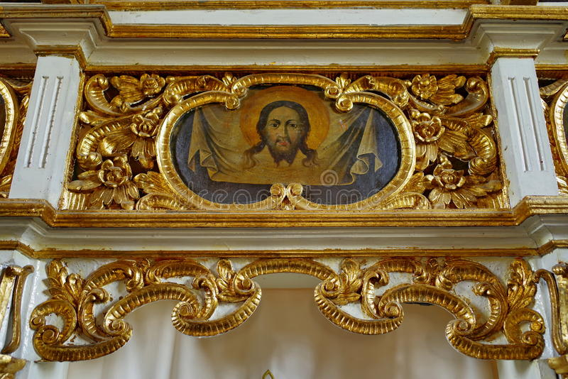 Jesus Christ in the church - orthodox monastery Bujoreni, landmark attraction in Romania. Icon of Jesus Christ in the church - orthodox Monastery Bujoreni royalty free stock image