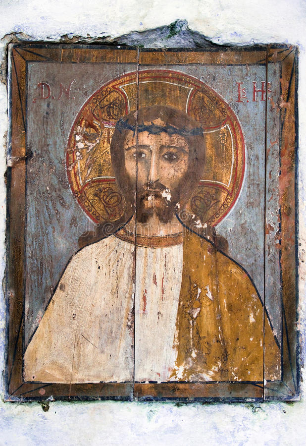Jesus Christ Icon Painted On Wood Royalty Free Stock Photo