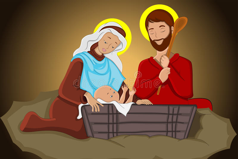 Jesus Christ with Joseph and Mary stock illustration