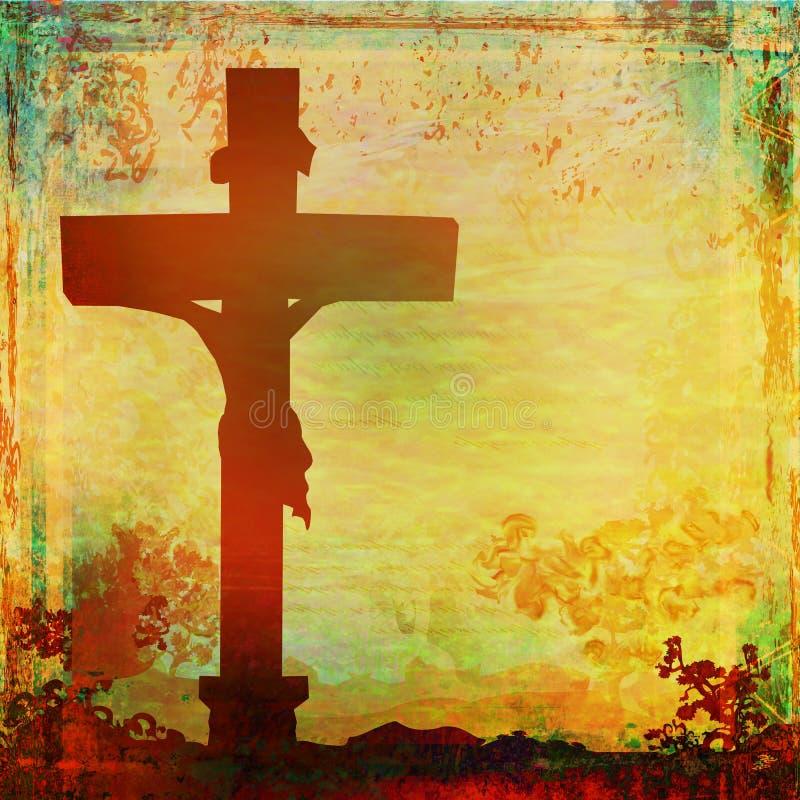 Jesus Christ kreuzigte, Schmutzhintergrund lizenzfreie abbildung