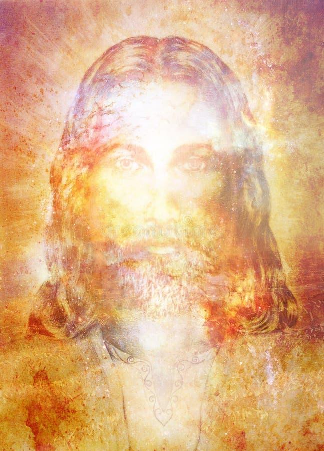 Jesus Christ-Malerei mit leuchtender bunter Energie des Lichtes, Blickkontakt lizenzfreie abbildung